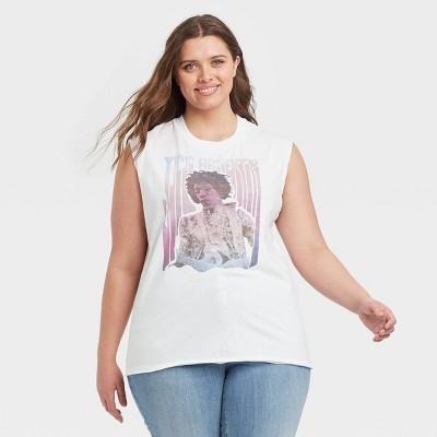 Women's Jimmy Hendrix Muscle Graphic Tank Top - White