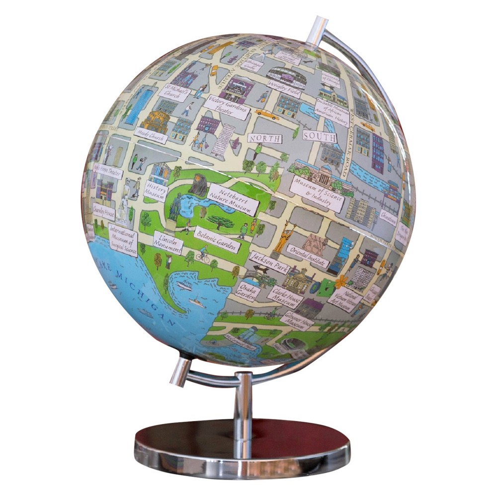 Globee Chicago 9 Illustrated Globe, Multi-Colored See Chicago at night in the form of an illuminated globe. The Chicago Night Light Globe is 9-inches in diameter and comes with a chrome silver stand. The globe depicts all the major landmarks and tourist sites of the city as well as the major streets and some of the famous characters associated with it and includes a 16 page informational booklet. Makes a wonderful gift or addition to any room. This globe is illuminated using Led lights within the globe and powered by Aaa batteries which are not included. You will never need to replace a light bulb! Color: Multi-Colored. Age Group: Adult.