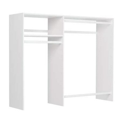 Easy Track OK0348 Hanging Closet Wardrobe Storage Clothing Organizer Rod Rack System Kit for Bedroom in White with Hardware for Easy Installation
