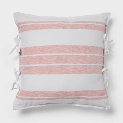 Euro Yarn Dye Stripe Throw Pillow White/Coral - Threshold™