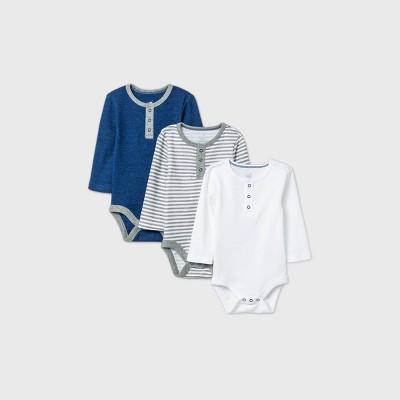Baby Boys' 3pk Long Sleeve Placket Bodysuit - Cloud Island™ Navy Newborn