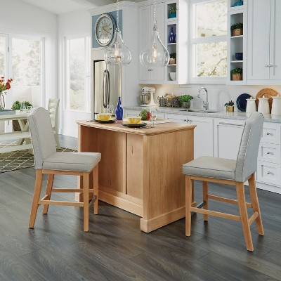Cambridge Kitchen Island U0026 Set Of Two Stools White Washed   Home Styles :  Target