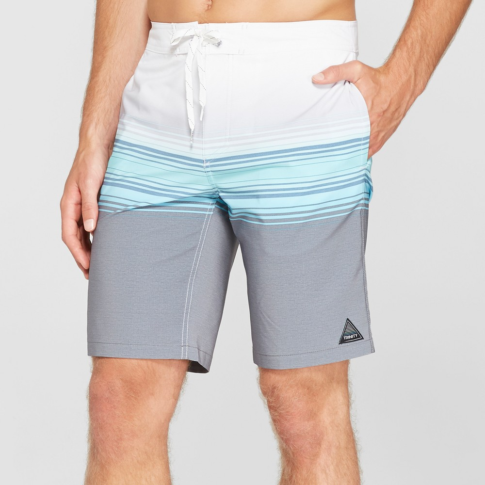 Trinity Collective Men's Striped 10 Blaster Board Shorts - Blue 34
