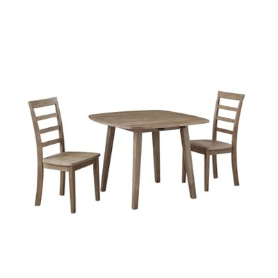 3pc Boulder Extendable Dining Table Set Wire Brush Barnwood Brown - Boraam