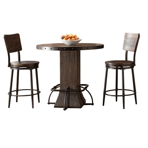 Jennings 5pc Round Counter Height Dining Set With Swivel Stools Distressed Walnut Hilale Furniture