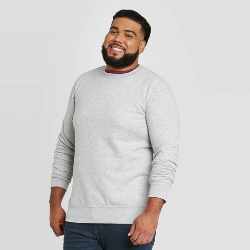 Men's Big & Tall Regular Fit Fleece Crew Sweatshirt - Goodfellow & Co™ Dark Gray - image 1 of 3