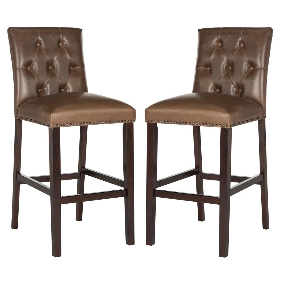 Set of 2 Counter And Bar Stools Brown - Safavieh
