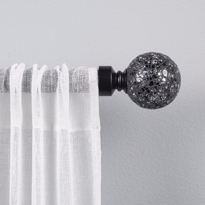 Black Pearl Mosaic 1  Curtain Rod and Coordinating Finial Set Matte Black Adjustable 66 120  - Exclusive Home