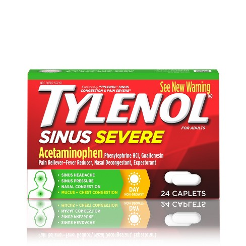 Tylenol Sinus Severe Non-Drowsy Pain & Congestion Relief Caplets - Acetaminophen - 24ct - image 1 of 4