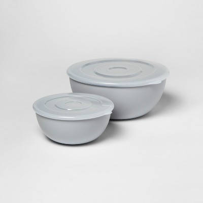 2pc Mixing Bowl Set with Lids Silver - Room Essentials™