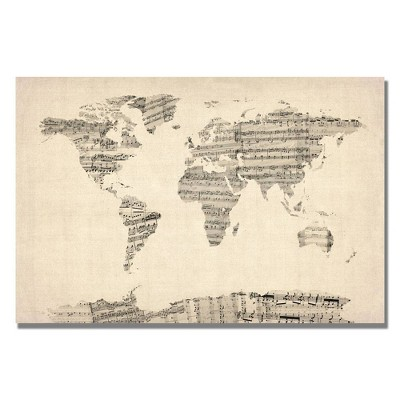 "22"" x 32"" Old Sheet Music World Map by Michael Tompsett - Trademark Fine Art"