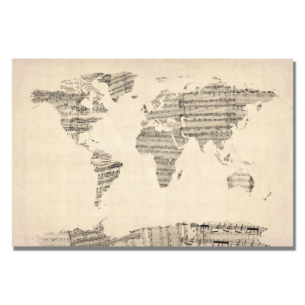22 34 X 32 34 Old Sheet Music World Map By Michael Tompsett Trademark Fine Art