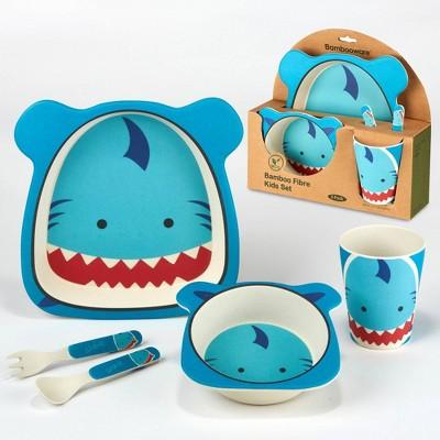 5pc Bamboo Kids Shark Dinnerware Set Blue - Certified International
