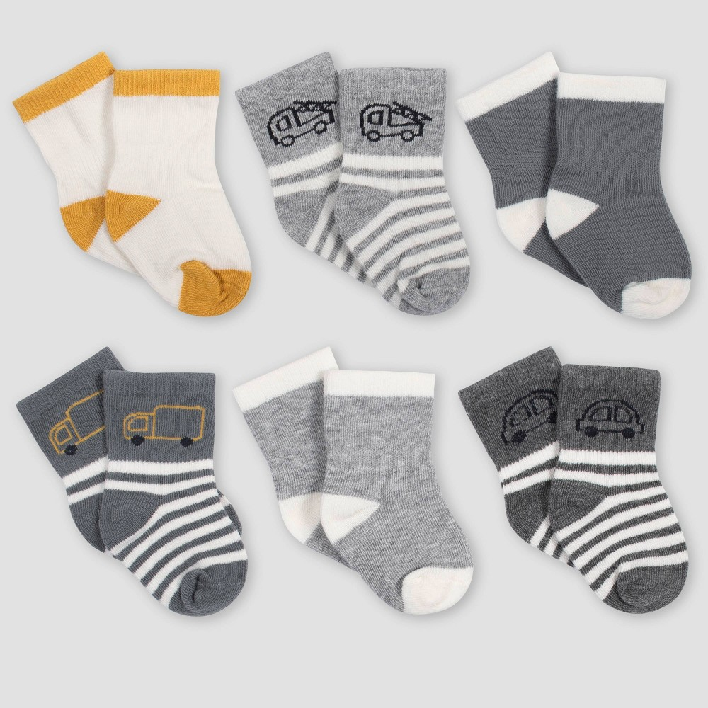 Image of Gerber Baby Boys' 6pk Vehicle Wiggle Proof Crew Socks - Gold/Gray 0-6M, Boy's, Size: Small