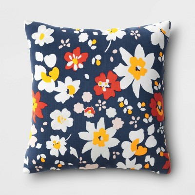 Square Floral Pillow Navy - Room Essentials™