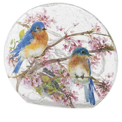 Wind & Weather Lighted Bluebirds on Redbud Branches Crackled Glass Tabletop Art