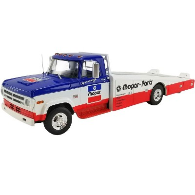 """1970 Dodge D300 Ramp Truck """"Mopar Parts"""" Blue and White with Red Bottom 1/18 Diecast Model Car by ACME"""