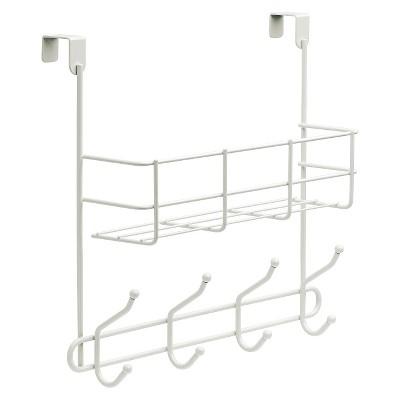 Over The Door Basket with Decorative Hook Rack White - Room Essentials™