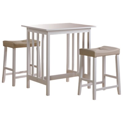 3 Piece Hahn Breakfast Table Set Wood/White - Homelegance