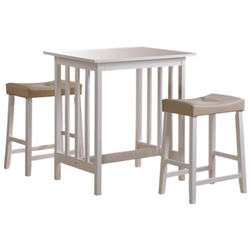 3 Piece Hahn Breakfast Table Set Wood/White - Homelegance - image 1 of 6