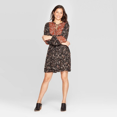 Women's Paisley Print Long Sleeve Split Neck Mini Shirtdress -  Knox Rose™ Black - image 1 of 2