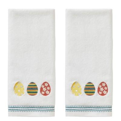 2pk Easter Egg Line Hand Towel Set White - SKL Home