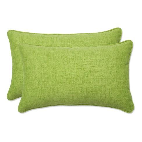 """Outdoor 2-Piece Lumbar Toss Pillow Set - Green 18"""" - image 1 of 4"""
