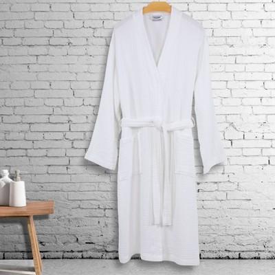 S/M Smyrna Hotel Spa Luxury Robe White - Linum Home Textiles