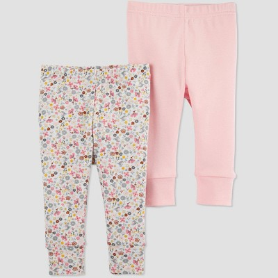 Baby Girls' 2pk Floral Leggings - Just One You® made by carter's 9M Pink