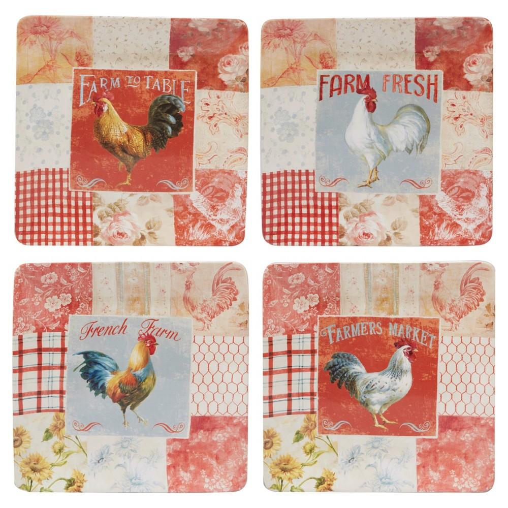 Certified International Farm House Rooster by Danhui Nai Square Ceramic Dinner Plates 10.5 Red - Set of 4