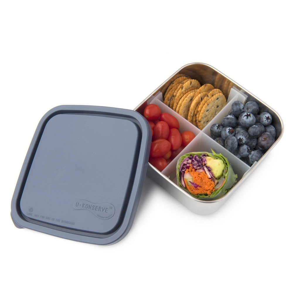 U Konserve To Go Stainless Steel Food Storage Container Bento Square 30oz Ocean Plastic Lid