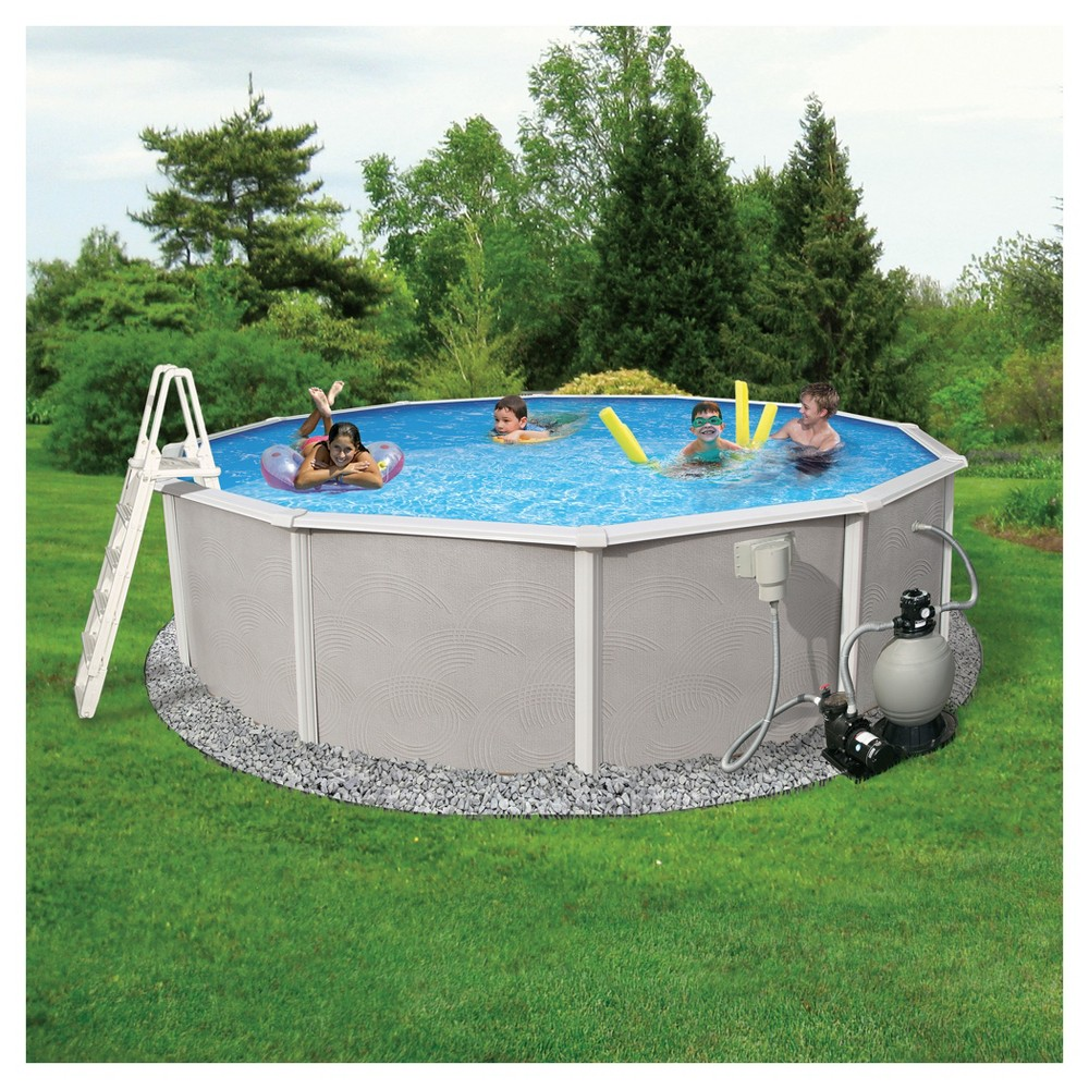 Blue Wave Barcelona Complete 24' Round 48 Deep Metal Wall Pool Package - Gray