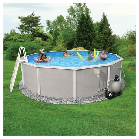 "Blue Wave Barcelona Complete 24' Round 48"" Deep Metal Wall Pool Package - Gray - image 1 of 6"