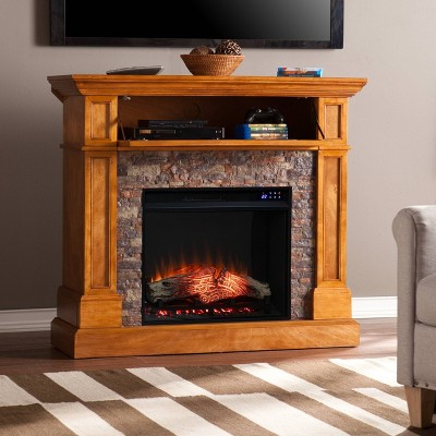 Roseshire Convertible Touch Panel Electric Fireplace with Faux Stone Sienna - Aiden Lane