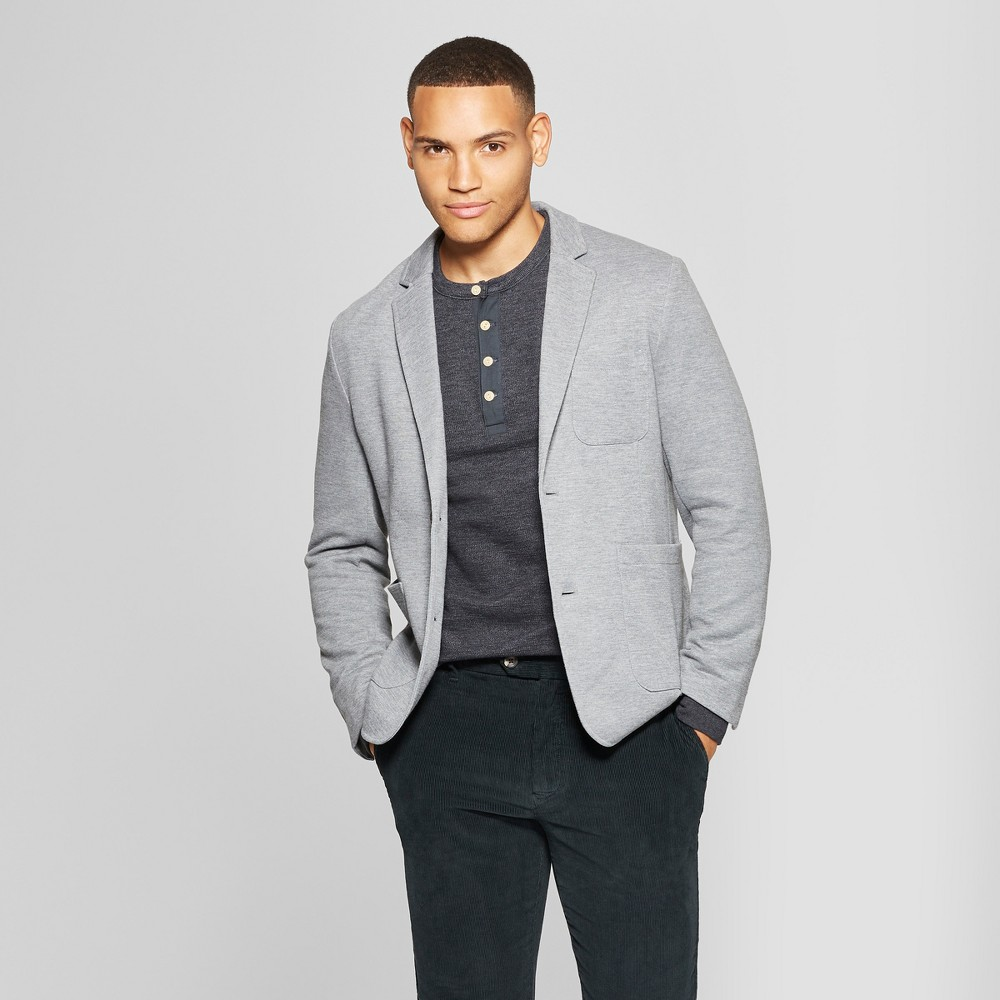 Men's Standard Fit Knit Blazer - Goodfellow & Co Heather Gray XL