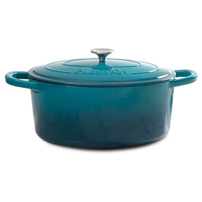 Crock Pot 7 Quart Oval Cast Iron Dutch Oven with Lid - Teal
