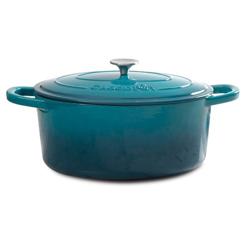 Crock Pot 7 Quart Oval Cast Iron Dutch Oven with Lid - Teal - image 1 of 1