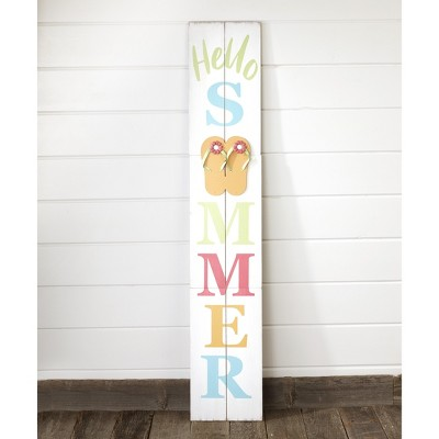 Lakeside Hello Summer Flip Flops Leaning Wall Sign with Attached Hanger