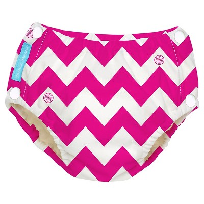 Charlie Banana Reusable Easy Snaps Swim Diaper, Pink Chevron, L