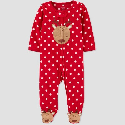 Baby Girls' Reindeer Fleece Sleep 'N Play - Just One You® made by carter's Red 9M
