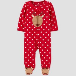 Baby Girls' Reindeer Fleece Sleep 'N Play - Just One You® made by carter's Red