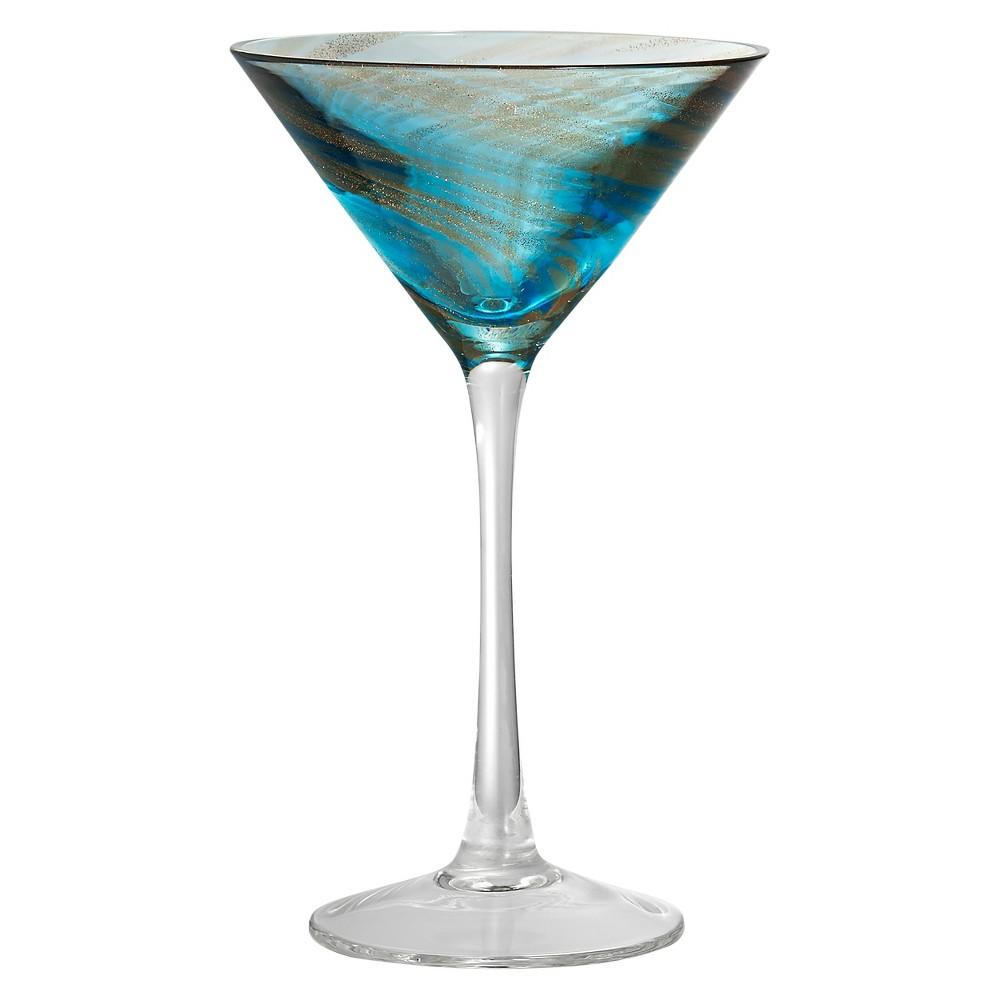 Artland Misty 8oz Martini Glasses - Set of 4 Aqua