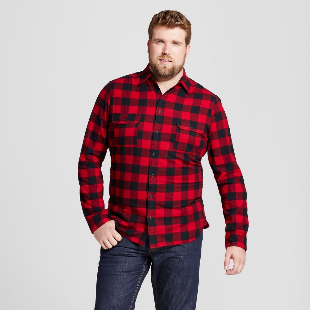 Men's Big & Tall Standard Fit Plaid Flannel Shirt - Goodfellow & Co Red 2XBT