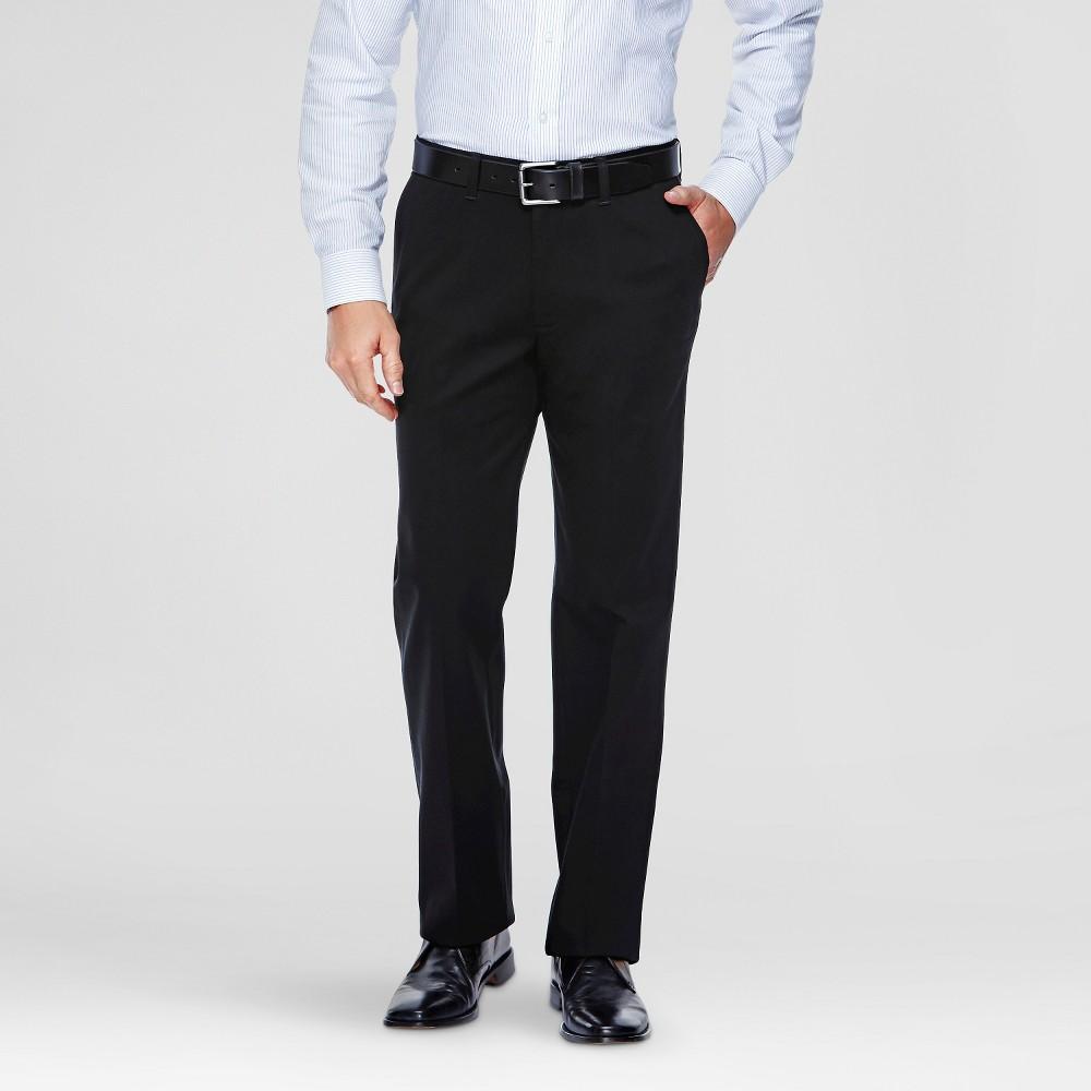 Haggar H26 - Men's Tall No Iron Stretch Straight Fit Pants Black 32x36