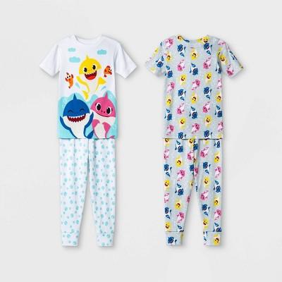 Toddler Boys' 4pc Baby Shark Pajama Set - White