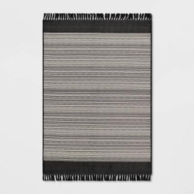 Outdoor Rug Striped Fringe Black - Project 62™