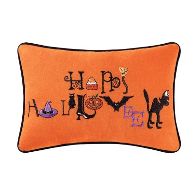C&F Home Happy Halloween Spooky Witch Hat Black Cat Orange Purple Handcrafted Embroidered Decorative Throw Pillow