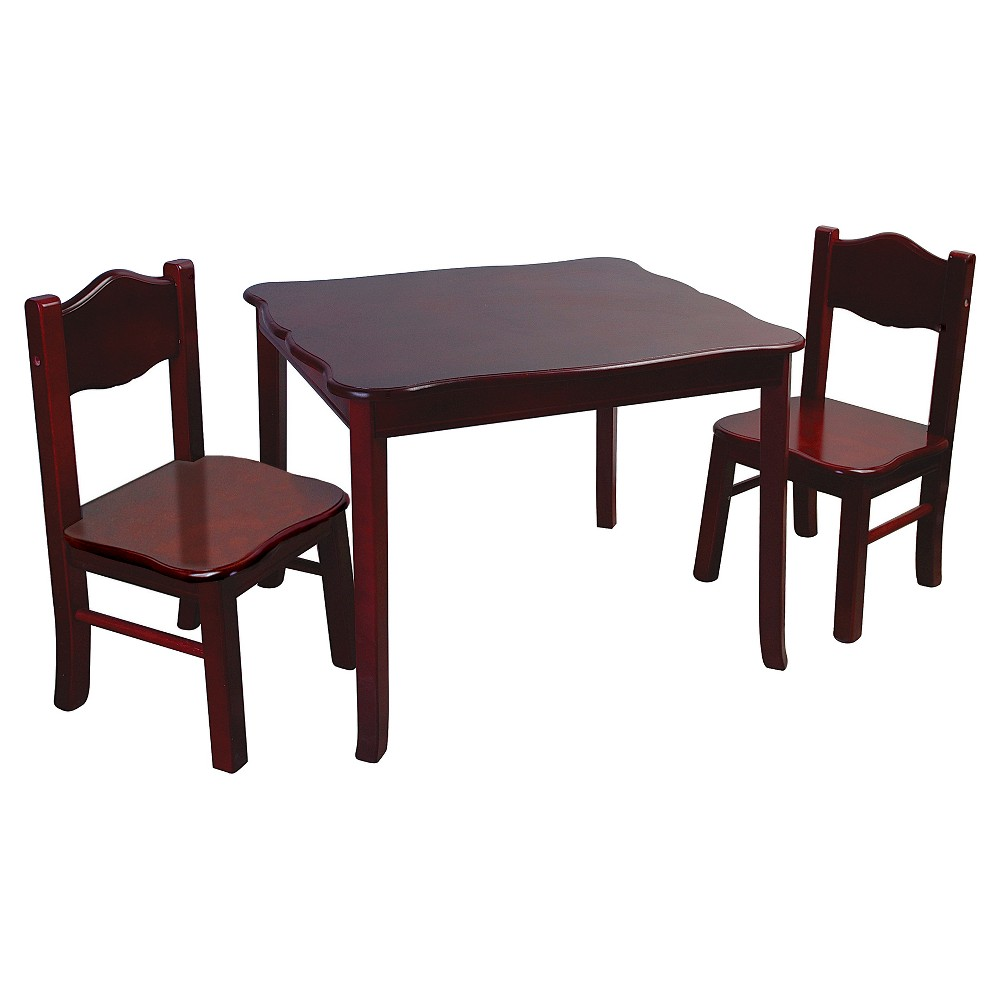 3 Piece Kids Table and Chairs Set - Espresso - Guidecraft, Brown