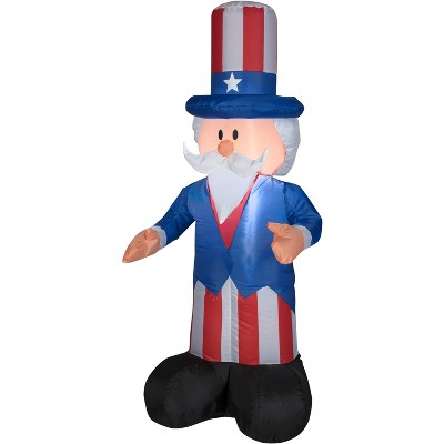 Gemmy Airblown Inflatable Uncle Sam, 4 ft Tall, blue