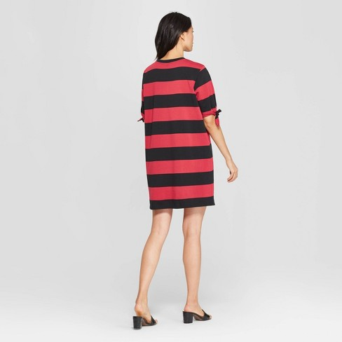 7c79e6015be0 Women s Striped Short Knotted Sleeve Crewneck T-Shirt Dress - Who What Wear™